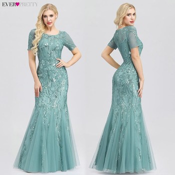 Formal Evening Dresses 2020 Ever Pretty New Mermaid O Neck Short Sleeve Lace Appliques Tulle Long Party Gowns Robe Soiree Sexy 4