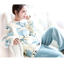 Flannel pajamas women winter cartoon lark cute girl thick coral fleece home clothing sweet long-sleeved shirt trousers two-piece