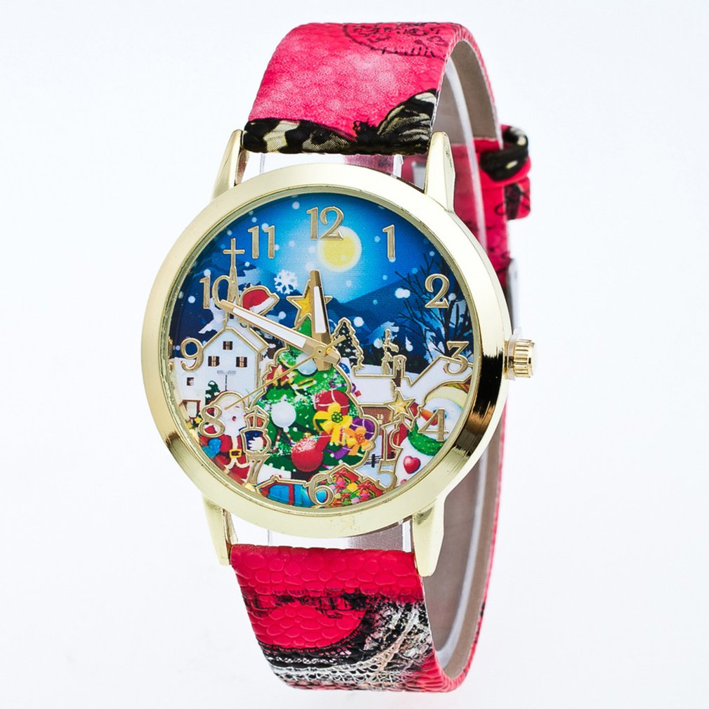 Quartz-Watch Wooden Children Strap Workmanship Round Snowman Litchi Gift Dial Santa-Claus