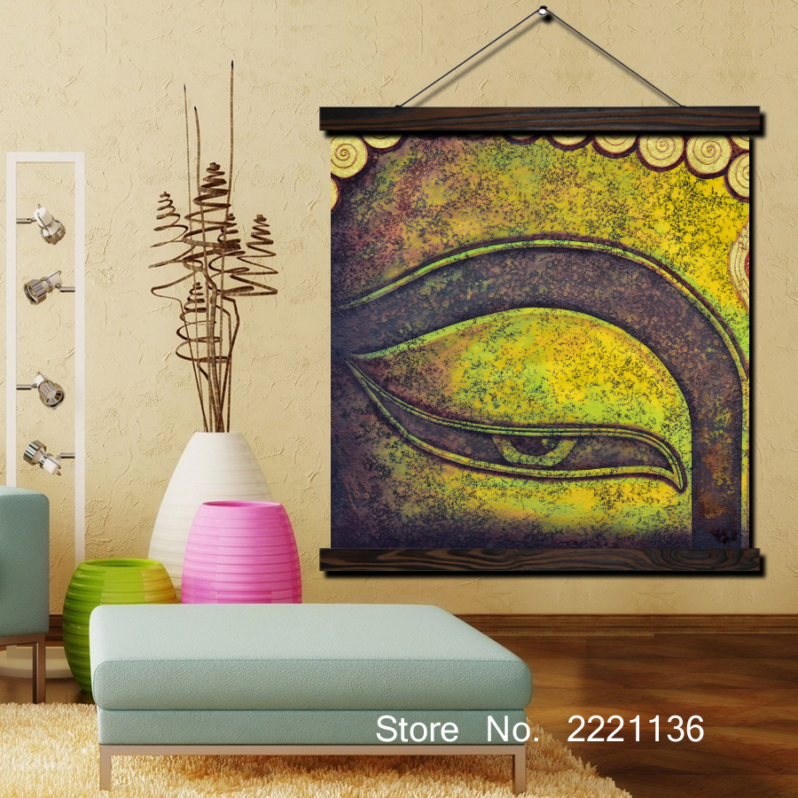 Green Buddha Eye HD Print Scroll Paintings Wall Art Printed Hanging ...