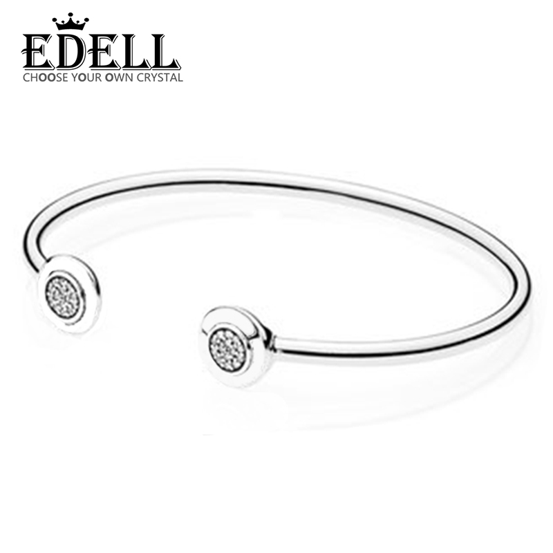 EDELL Authentic 925 Sterling Silver Bangle Signature With Crystal Open Bracelet Bangle Fit Style Bead Charm DIY Jewelry