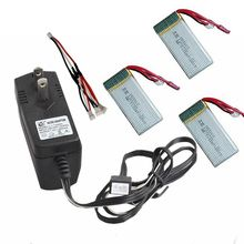 цена на Free Shipping! 3in1 Cable+AC Charger+3x 7.4V 1200mAh 30C Lipo Batteries For MJX X101 RC Drone