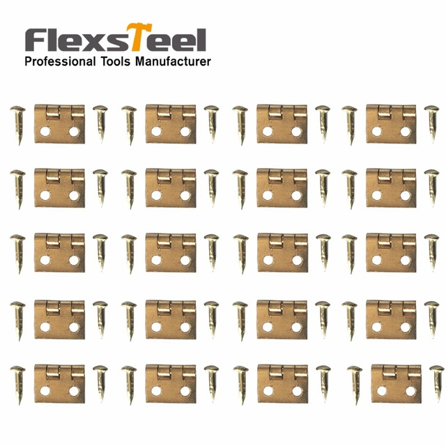 100 PCS 10*8MM Mini Cabinet Drawer Butt Hinge Copper Gold Small Hinge 4 Small Hole Hinge With Screws Hand Tools Hardware
