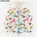 Little maven meninas marca de roupas de inverno crianças de algodão quente cavalo de impressão hoodies & camisolas wy065