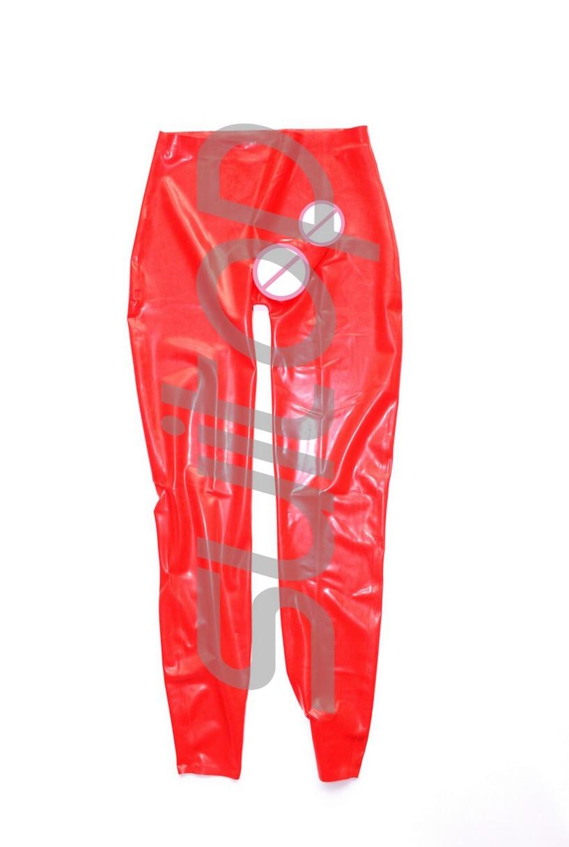 Rouge sexy latex pantalon avec godes latex pantalon avec pénis préservatifs hommes 0.3mm