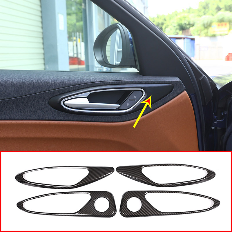 4Pcs Carbon Fiber Style ABS Plastic For Alfa Romeo Giulia 2017 2018 Car Chrome Interior Door