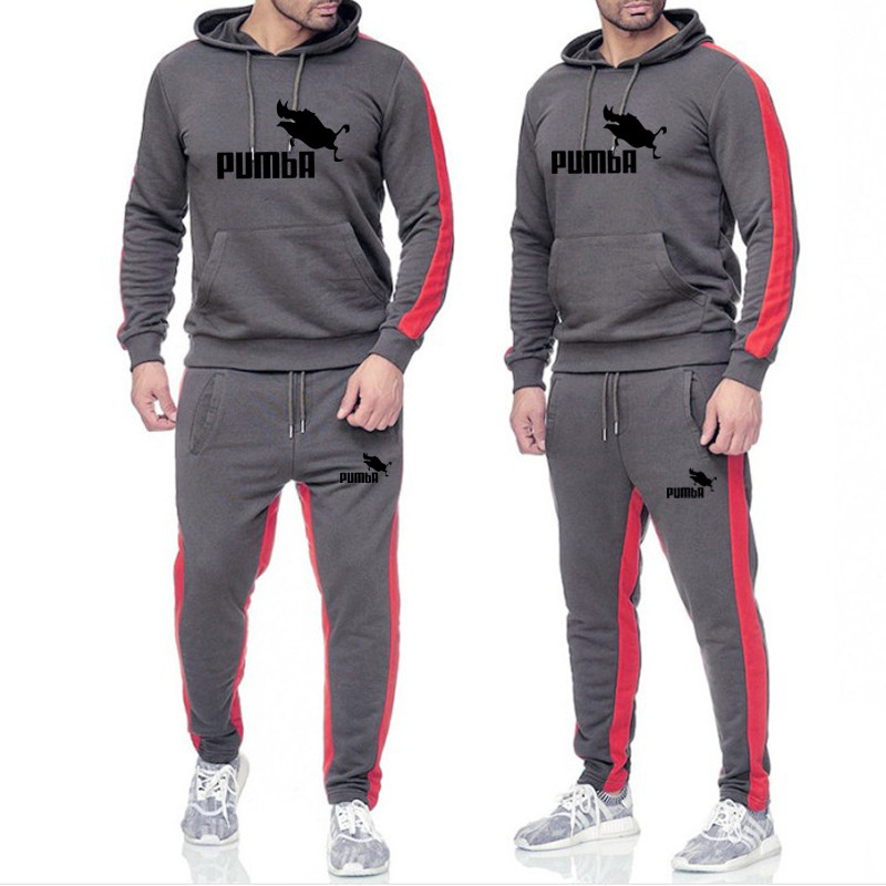 New 2019 Brand Men Tracksuit Autumn Hoodie Sweater Sweatpants Man Printing Suits Sportwear Tracksuit Fight Color Hoodie Suits