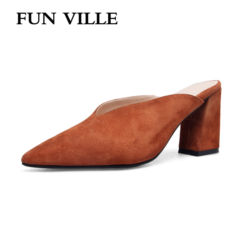 FUN VILLE 2018 Summer New Fashion Women Slippers British Style sheep suede high heel pointed toe sexy ladies shoes size 34-43 new 2017 spring summer women shoes pointed toe high quality brand fashion womens flats ladies plus size 41 sweet flock t179