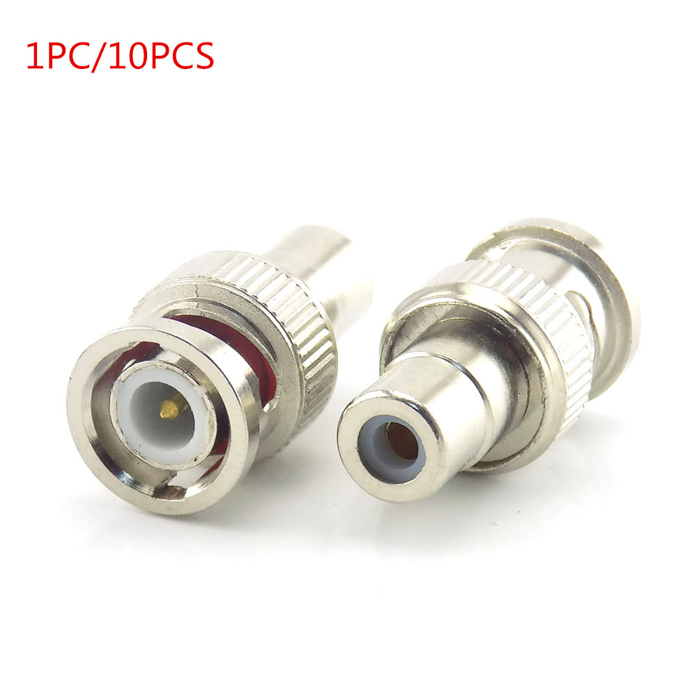 2 pcs BNC Female AV Plug to RCA Male Coax Adapter Connector For CCTV Camera