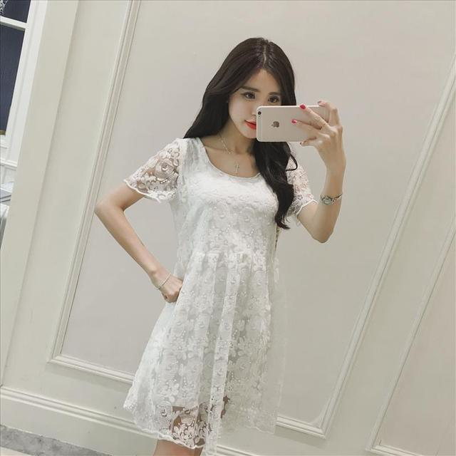 33be3b7cd5c05 Maternity summer dress new Korean pregnant women loose short-sleeved lace dress  pregnant women dresses