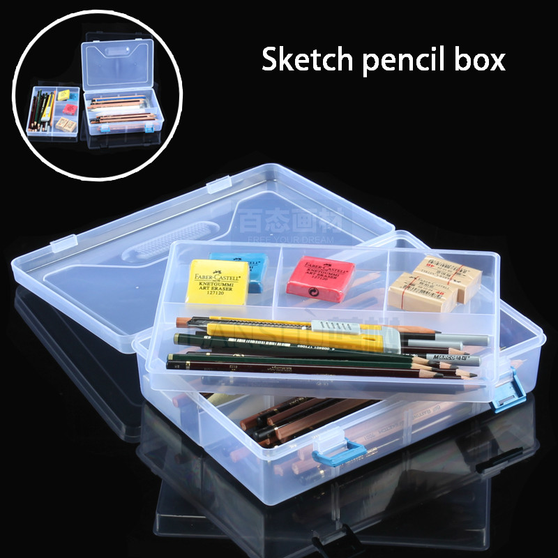 High-quality art transparent plastic storage box pencil case multifunctional sketch box double layer/monolayer pencil box plastic storage box transparent