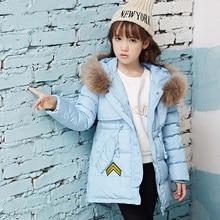 Girls Jacket Winter 2016 Casual Winter Slim Jackets for Girl Parka Fur Collar Hooded  Snowsuit Girl Down Jacket Kids Winter Coat
