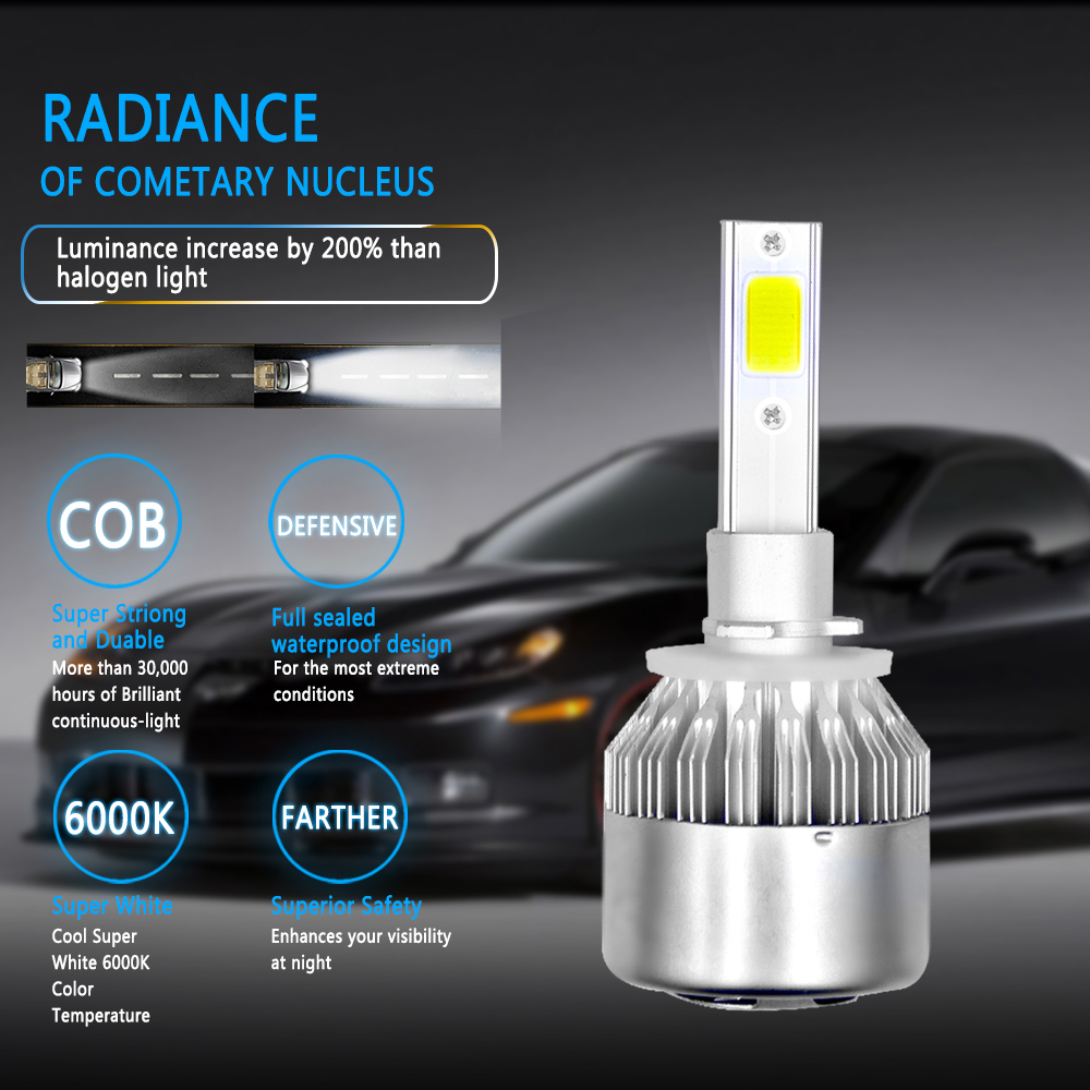 ECAHAYAKU C6 LED Car Headlight 72W 7600LM COB led Auto Headlamp Bulbs H1 H3 H4 H7 H11 880 9004 9005 9006 9007 Car Styling Lights in Car Headlight Bulbs LED from Automobiles Motorcycles