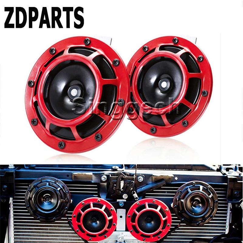 ZDPARTS 2PC For Honda Civic Accord Fit CRV HRV Toyota Corolla Avensis Rav4 Fiat Car Stickers Red Electric Blast Tone Horn Kit