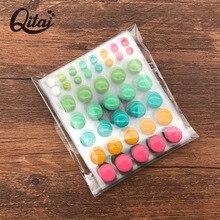 QITAI 6pcs/lot Scrapbooking Stickers Round Dot Circle Ring Decoration Sugar Sprinkles Blink DIY Enamel Resin Sticker ES025