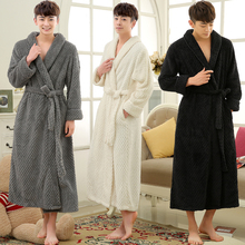 Lovers Winter Long Thick Warm Bathrobe Men Thermal Coral Fleece Kimono Bath Robe Male Classic Dressing Gown Mens Flannel Robes cheap RUILINGSHA CN(Origin) Regular Sleeve Long Sleeve Polyester Knitted Solid Long Men Women Flannel Knitted Robes Shawl Collar