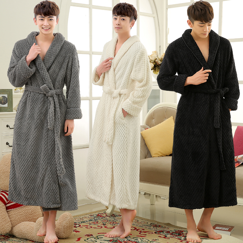 numerous in variety top-rated genuine order US $22.69 49% OFF|Lovers Winter Long Thick Warm Bathrobe Men Thermal Coral  Fleece Kimono Bath Robe Male Classic Dressing Gown Mens Flannel Robes-in ...
