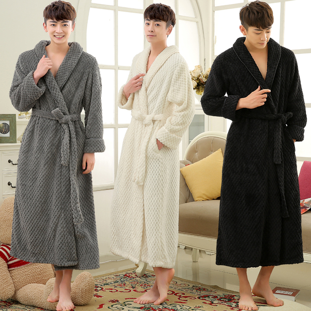 5b240220e8 Lovers Winter Long Thick Warm Bathrobe Men Thermal Coral Fleece Kimono Bath  Robe Male Classic Dressing