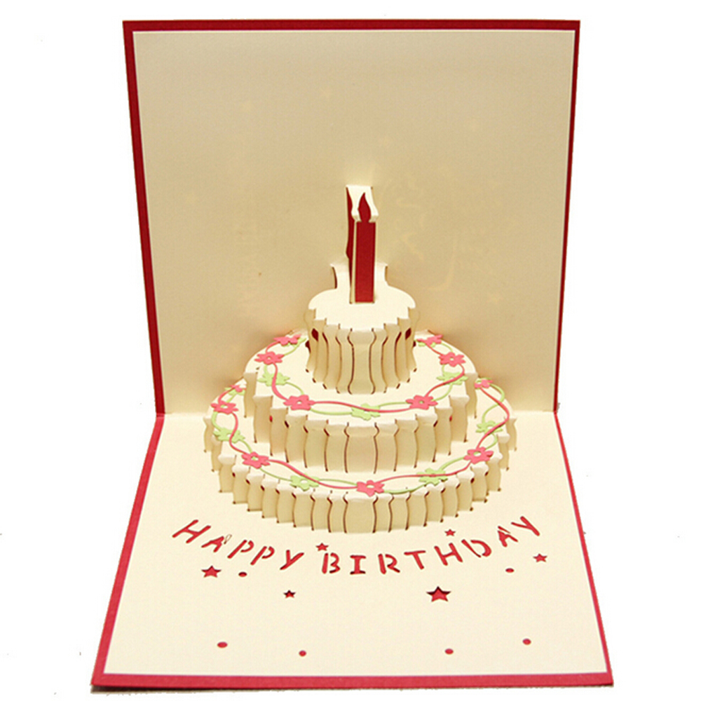 5 Pieces LotCreative Birthday Cake Small Cartoon Greeting Card Message 3D Cards With Envelope