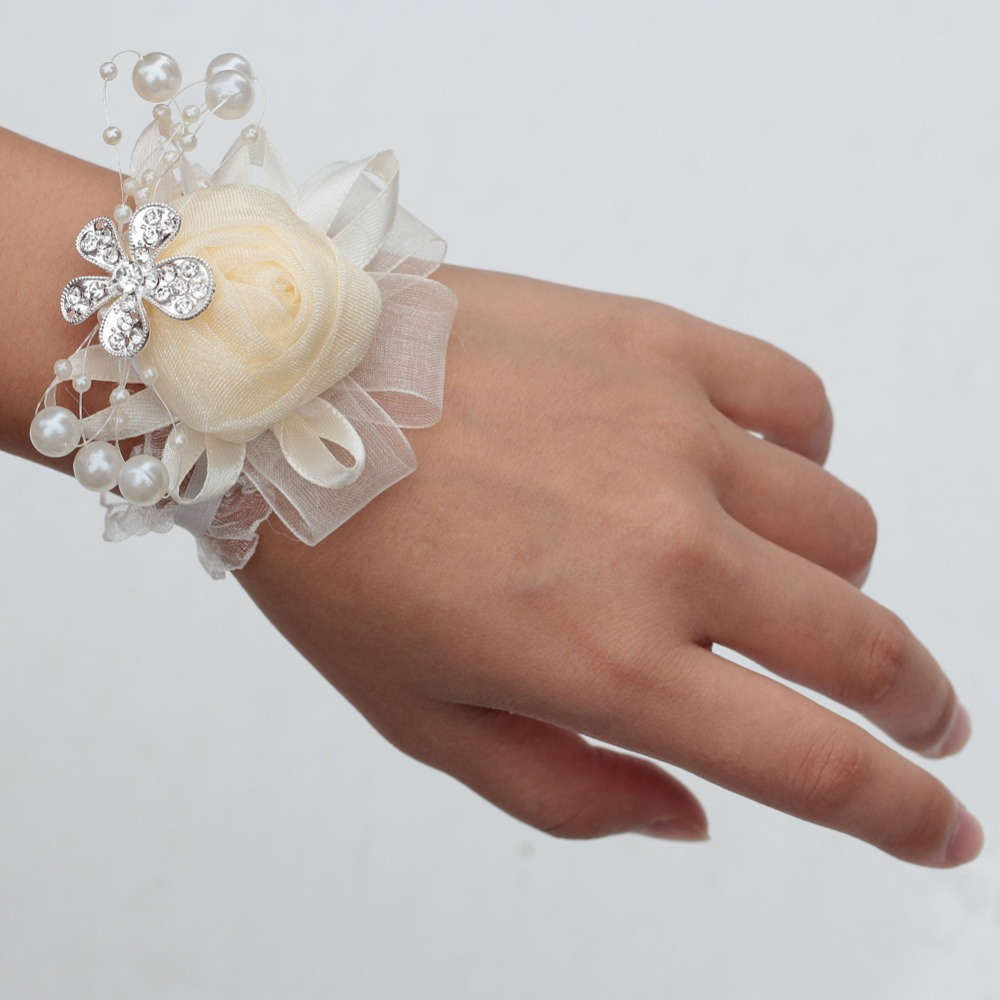 Ivory Customized Pearls Wrist Corsage Crystal Groom Boutonniere Wedding Handmade Flower Rose Bridesmaid Wrist Corsage X978 Z