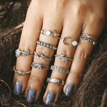 2018 NEW 11Pcs/Sets Boho Jewelry Midi Rose Ring Sets for Women Anel Vintage Tibetan Turkish Silver Color Flower Knuckle Rings new bohemia vintage jewelry unique carving tibetan silver plated ring set for woman 4pcs set punk boho ring sets