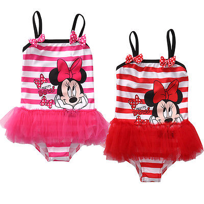 Cute Minnie Mouse Swimsuit New 2018 Summer Baby Kids Girl Bikini Swimming Costume One Piece Swimwear Bathing Suit one piece little girl mermaid bow halter swimsuit baby kids girls sequins summer swimwear headband bikini set bathing suit