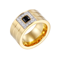 Heyrock Stainless Steel Gold Plated Blue Black White Rhinestone Women Party Engagement Rings