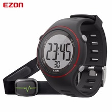 EZON New Men Women Sports Wristwatch Digital Heart Rate Monitor Outdoor Running Watch Alarm Chronograph with Chest Strap T037 black sport heart rate monitor digital watch for men women clock outdoor running sports alarm stopwatch watches with chest strap