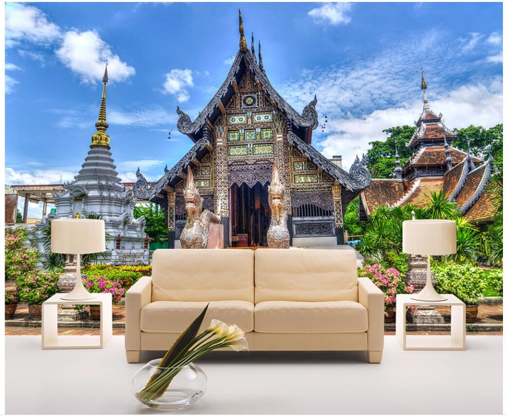 Custom mural 3d photo wallpaper Thai architectural landscape home decor living room 3d wall murals wallpaper for wall 3 d ivo d drpic architectural delineation