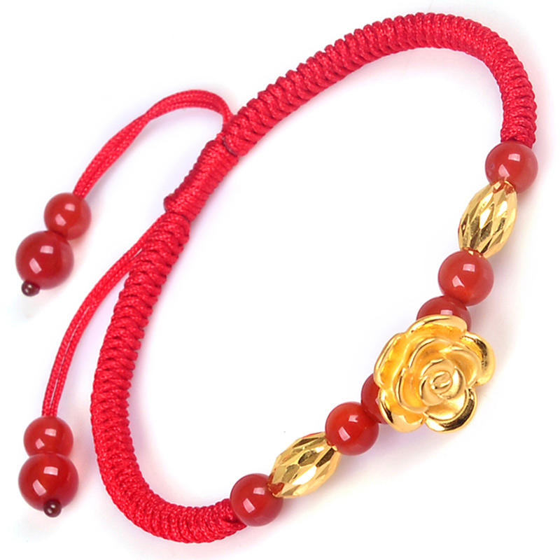 999 New Pure 24K Yellow Gold 12mm 3D Charming Rose & 9*6mm Oval Bead & Red Agate Beads Woman's Lucky Bracelet