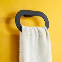 Bathroom Towel Ring Rubber Paint Copper Towel Hanging Ring Bathroom Towel Rack Black LO551046