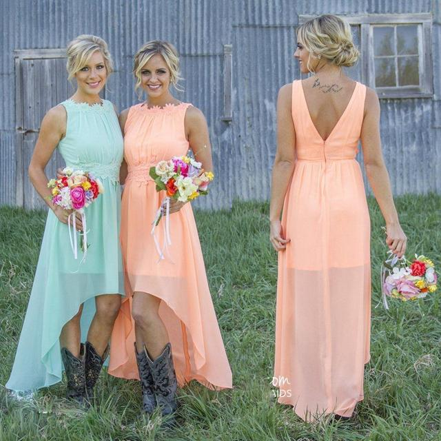 Aliexpress.com : Buy 2017 Mint Coral Short High Low Bridesmaid ...