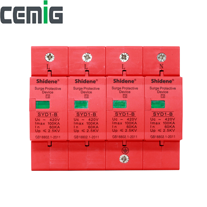 Cemig SYD1-B SPD 4P 100kA ~420VAC House Surge Protector Protective Low-voltage Arrester Device Lightning Protection