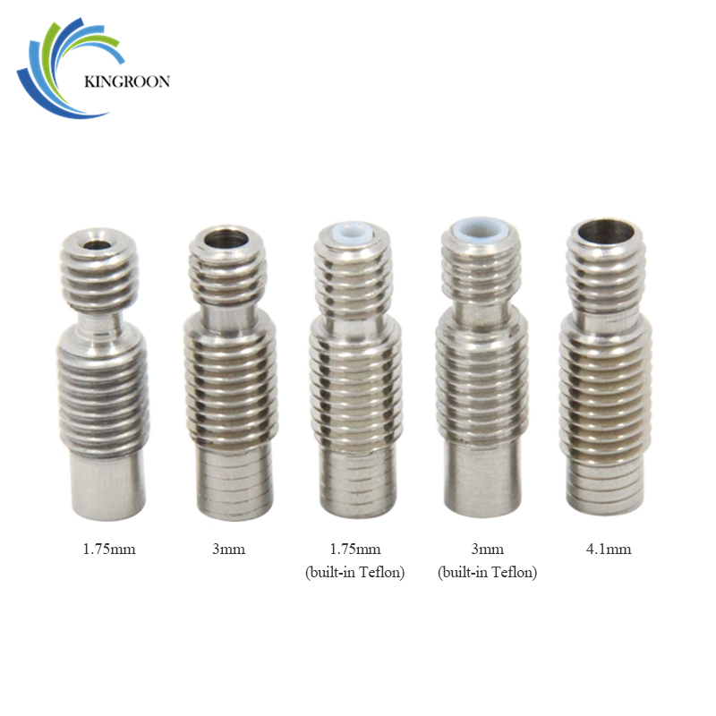 Stainless Steel V6 Throat Bowden Teflon Tube Long Thread For 1.75 Mm 3mm Filament 3D Printers Parts Full Metal Part Bore 4.1mm
