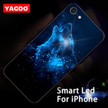Yagoo Smart Led Glow Phone Case For iPhone 6 6S Plus Cases Back Cover Wolf Patterned Funda Animal Luxury Glass Silicone Capa
