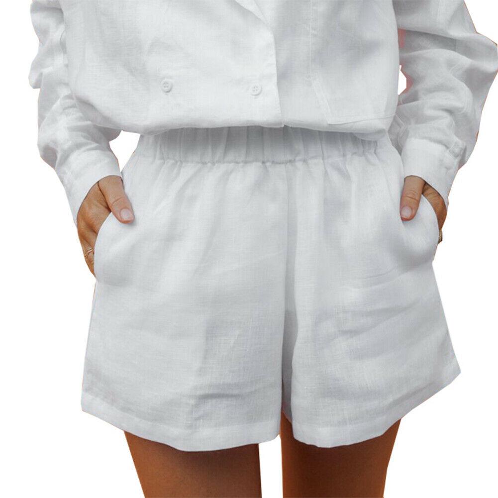 Sexy Summer Beachwear Boho Style Women Solid Shorts High Elastic Waist Loose Wide Leg Shorts XL