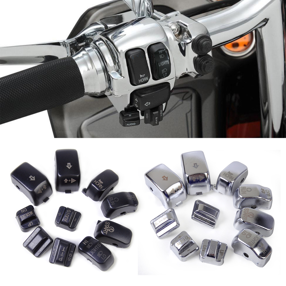Frames & Fittings Covers & Ornamental Mouldings Diplomatic Beler 10pcs Replacement Housing Switch Cap Button Cover Kit For Harley Cross Bones Softail Dyna Road King Electra Glide Curing Cough And Facilitating Expectoration And Relieving Hoarseness