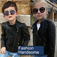 2017 Fashion Spring Autumn Baby Girls Leather Jacket Fashion Kids Faux Leather Jacket Girls Coats European