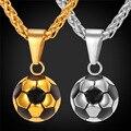 Deportivo de Fútbol de fútbol collar Colgante Con Cadena de Acero Inoxidable Collar Plateado Oro de Los Hombres/de Las Mujeres deporte bola Joyería P136