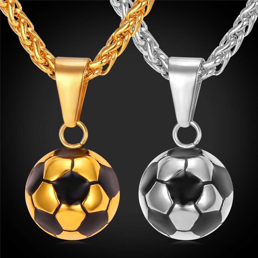 Kpop sporty necklace football pendant with chain stainless for Stainless steel jewelry necklace