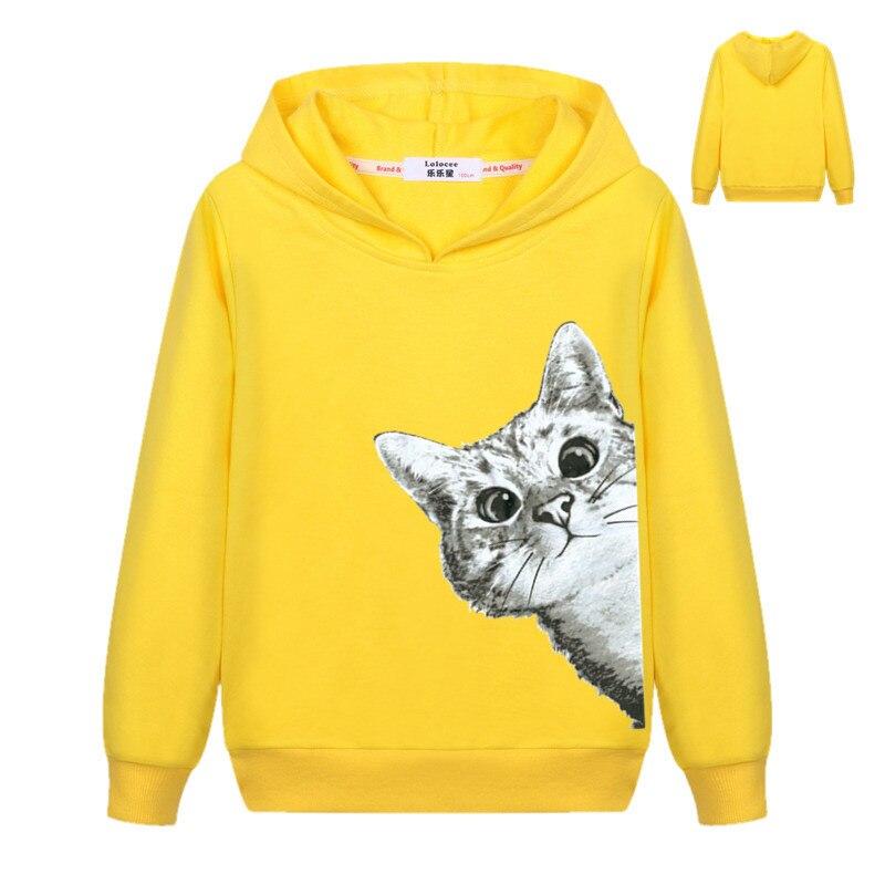 2018 Kawaii Cat Hoodies Kids Girls Cute Cartoon Looking Outside Cat Print Hooded Sweatshirt Loose Pullover Tracksuit for Boys 3