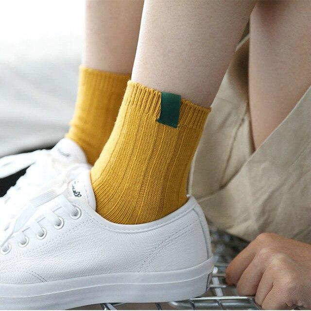 New Retro Harajuku Women Girl Crew Loose Socks Classic  Winter Pure Color In Tube Korean White