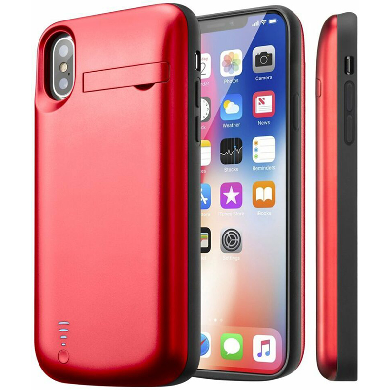 Extended Charger Portable Charging Case Support Lightning Headphone Battery Case for iPhone X 5000mAh with Pop-out Kickstand