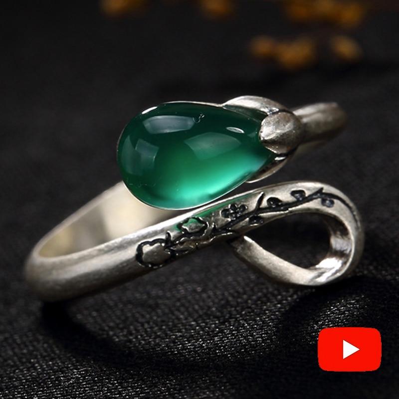 NOT FAKE S925 Fine Antique Shop Rings Emerald Luxury Taste Lily Flower Handmade Vintage Natural Chalcedony Moldavite Peridot