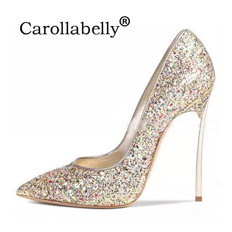 sexy glitter women shoes metal heel sequined shoes pumps e7c28401ac86