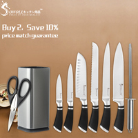 SOWOLL Cooking Knives Set Stainless Steel Kitchen Cutlery Knife With Knife Block Holder Knife Sharpeners And Kitchen Scissors