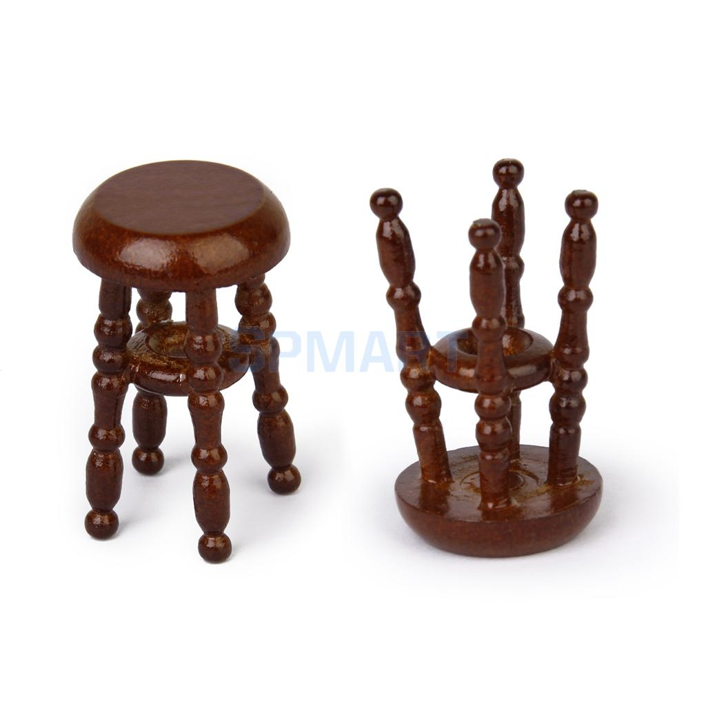 New 2014 2Pcs 1/12 Dollhouse Miniature Wooden Pub Bar Stool Barstool Coffee Miniatura Scale Model Chair Christmas Gift for Kids