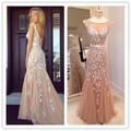 2016 Elegant Floor-Length Tulle Appliques Sleeveless Prom Dress Muslim Cheap Long Lace Evening Gown Party Dress
