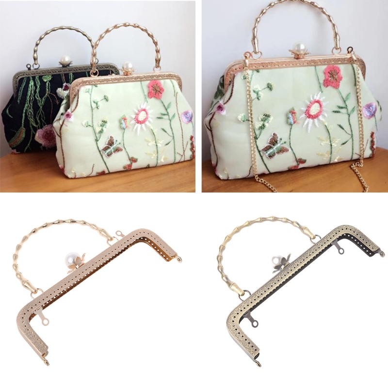 20cm Metal Square Flower Purse Bag Clasp Lock Clip Bags Making Crafts DIY Bags Accessories THINKTHENDO Brand New
