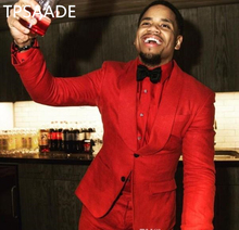 TPSAADE Red Groom Tuxedos Shawl Lapel Two Button Groomsmen Wedding Tuxedos Men Party Suits (Jacket+Pants+Tie+Girdle) Custom Made
